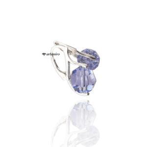 Srebrne kolczyki kulki z kryształkiem Swarovski Crystals Provence Lavender