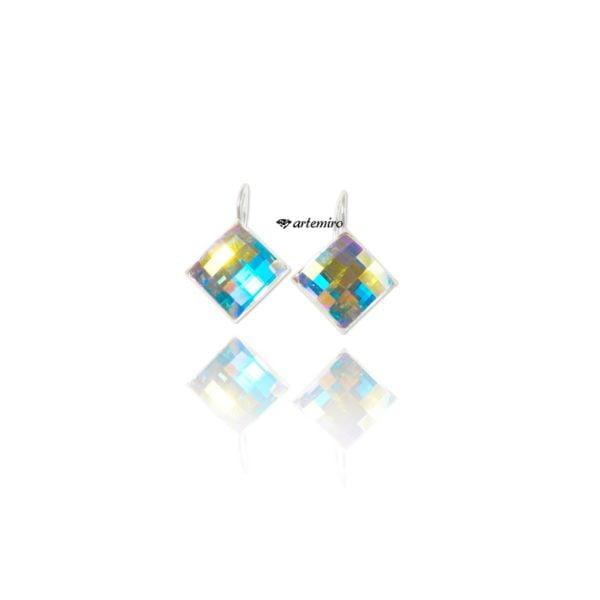 srebrne kolczyki Swarovski kwadraty crystal ab