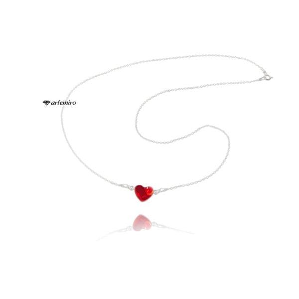 Srebrny łańcuszek celebrytka z serduszkiem Swarovski czerwony Light Siam