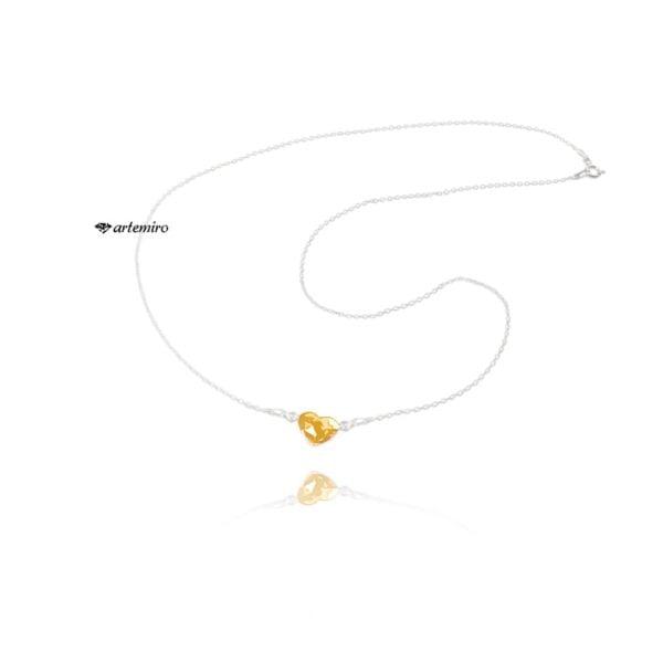 Srebrny łańcuszek celebrytka z serduszkiem Swarovski Golden Shadow