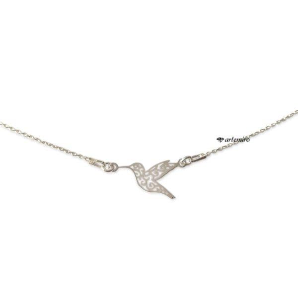 Srebrny naszyjnik celebrytka ażurowy koliberek ptak