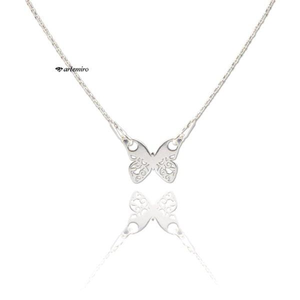 Srebrny naszyjnik celebrytka motylek