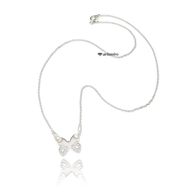 srebrny łańcuszek celebrytka motylek