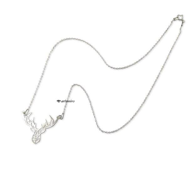 srebrny łańcuszek celebrytka origami jelonek