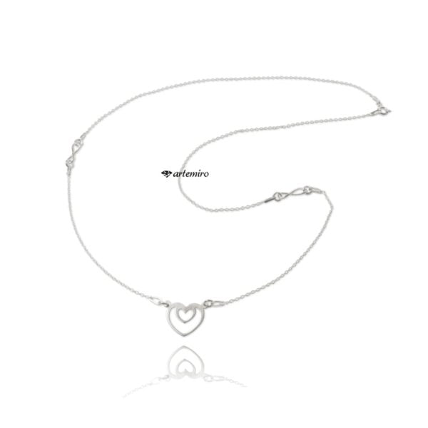 długi srebrny naszyjnik celebrytka serce nieskończoność
