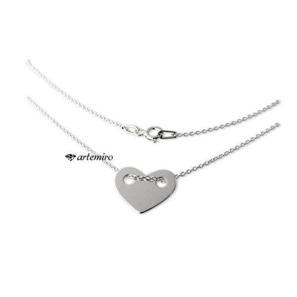 srebrny lancuszek celebrytka z sercem serduszko