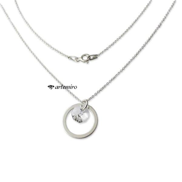 Srebrny naszyjnik z kryształkiem Swarovski crystal