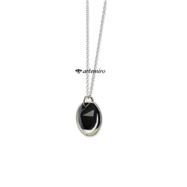 Srebrny naszyjnik z czarnym kryształkiem Swarovski Jet