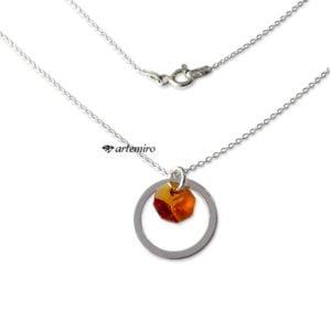 Srebrny naszyjnik z kryształkiem Swarovski Topaz