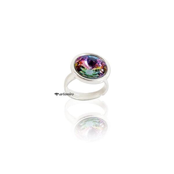 Srebrny pierścionek Swarovski rivoli Vitrail Light