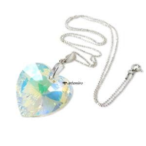Zawieszka z kryształkiem Swarovski duże serce Crystal AB srebrna