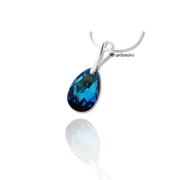 Zawieszka z kryształkiem Swarovski Crystals mały migdał Bermuda Blue srebrna