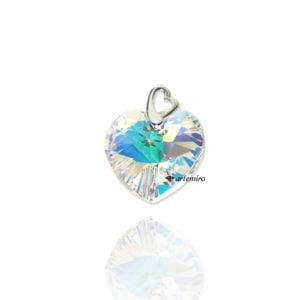 Zawieszka srebrna z kryształkiem Swarovski Crystals serce Crystal AB