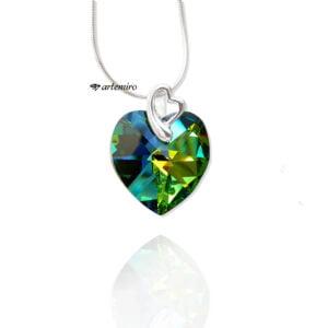 Zawieszka srebrna z kryształkiem Swarovski Crystals serce Vitrail Medium