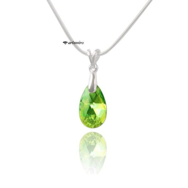 srebrna zawieszka swarovski zielona peridot